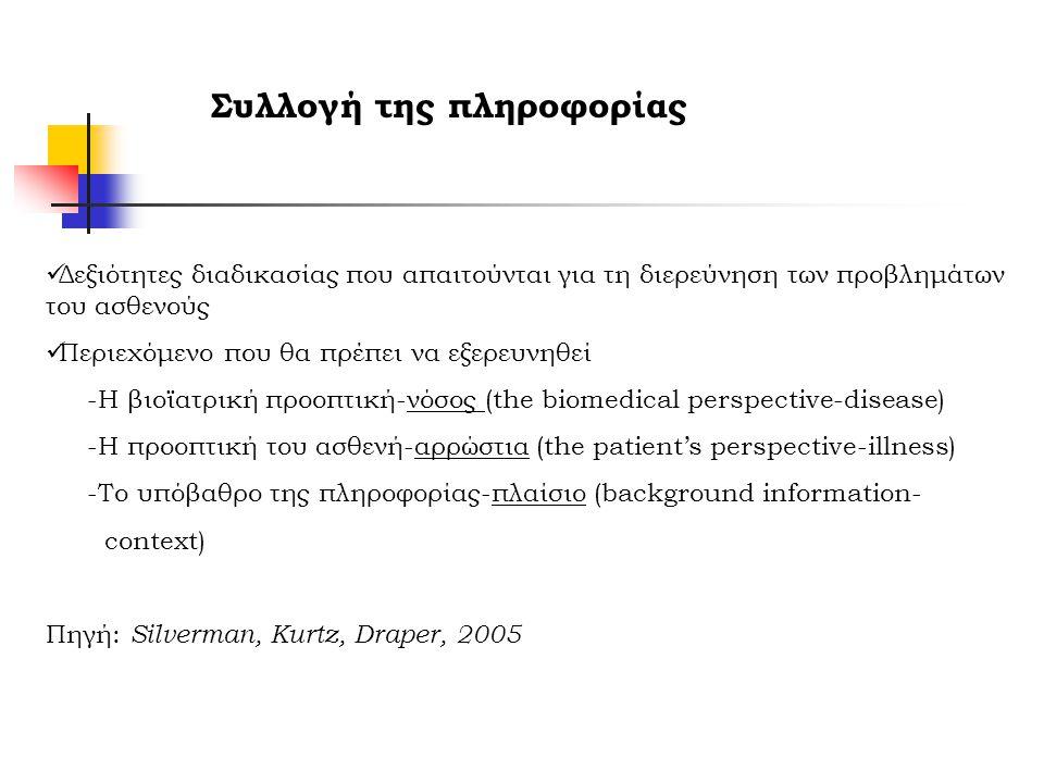 Συλλογή της πληροφορίας Δεξιότητες διαδικασίας που απαιτούνται για τη διερεύνηση των προβλημάτων του ασθενούς Περιεχόμενο που θα πρέπει να εξερευνηθεί -Η βιοϊατρική προοπτική-νόσος (the biomedical perspective-disease) -Η προοπτική του ασθενή-αρρώστια (the patient's perspective-illness) -Το υπόβαθρο της πληροφορίας-πλαίσιο (background information- context) Πηγή: Silverman, Kurtz, Draper, 2005