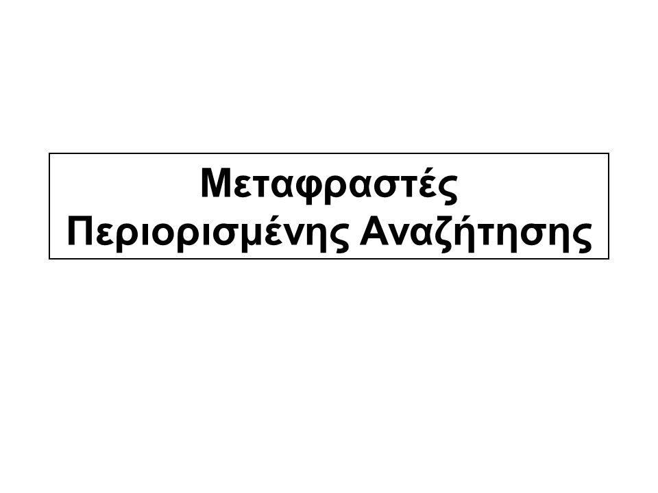 Μεταφραστές Περιορισμένης Αναζήτησης