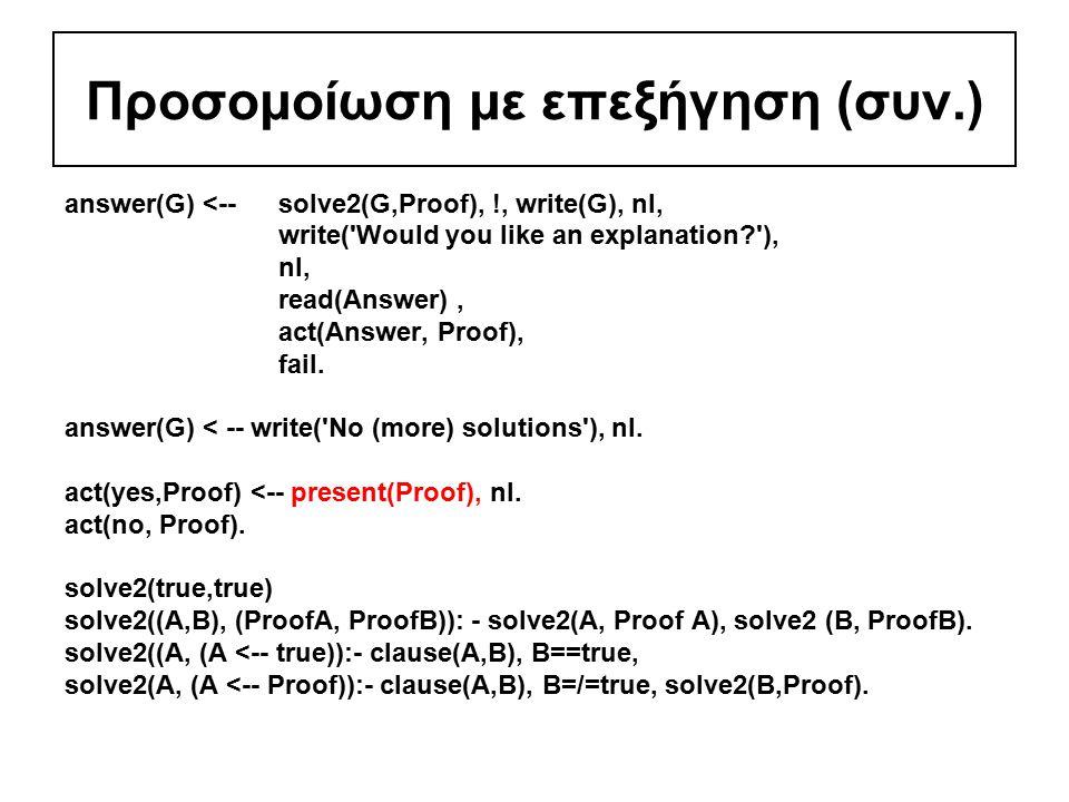 Προσομοίωση με επεξήγηση (συν.) answer(G) <-- solve2(G,Proof), !, write(G), nl, write( Would you like an explanation ), nl, read(Answer), act(Answer, Proof), fail.