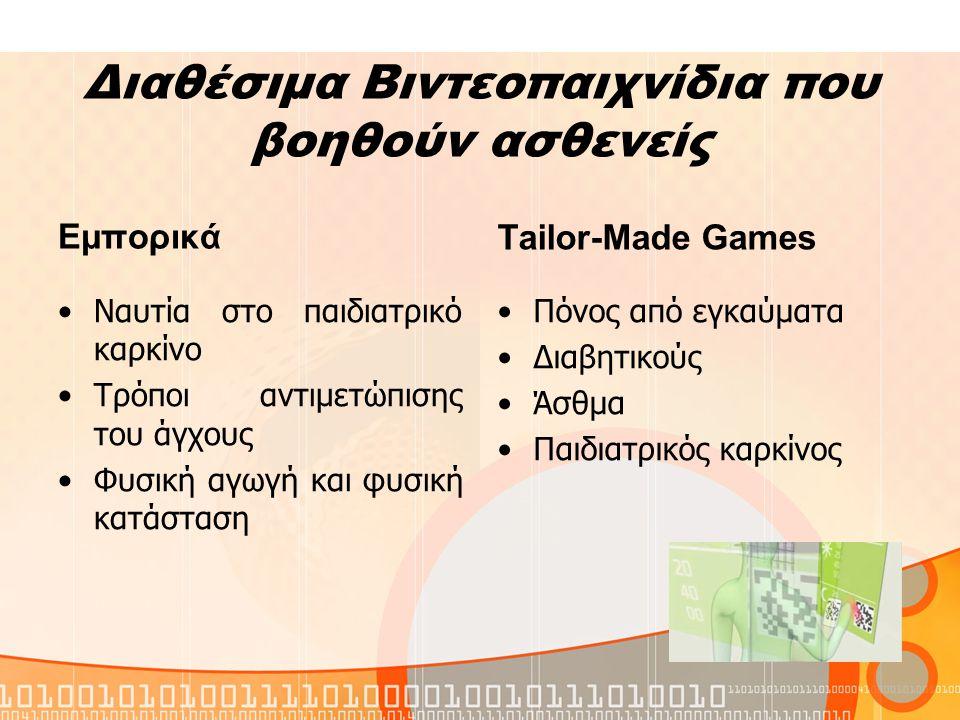 Διαθέσιμα Βιντεοπαιχνίδια που βοηθούν ασθενείς Εμπορικά Ναυτία στο παιδιατρικό καρκίνο Τρόποι αντιμετώπισης του άγχους Φυσική αγωγή και φυσική κατάσταση Τailor-Made Games Πόνος από εγκαύματα Διαβητικούς Άσθμα Παιδιατρικός καρκίνος
