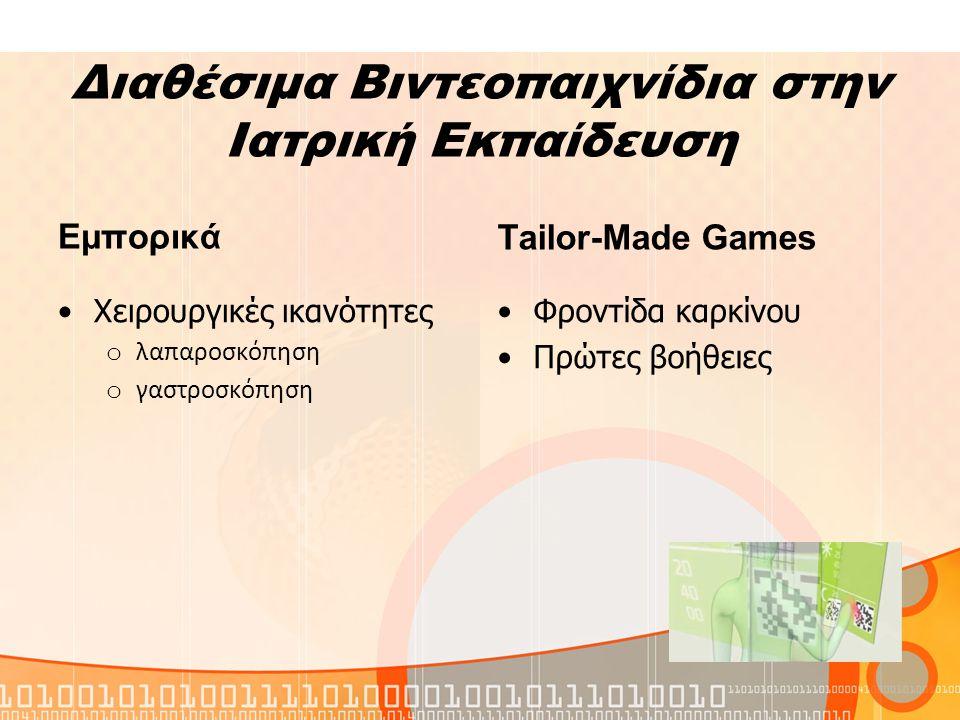 Διαθέσιμα Βιντεοπαιχνίδια στην Ιατρική Εκπαίδευση Εμπορικά Χειρουργικές ικανότητες o λαπαροσκόπηση o γαστροσκόπηση Τailor-Made Games Φροντίδα καρκίνου Πρώτες βοήθειες