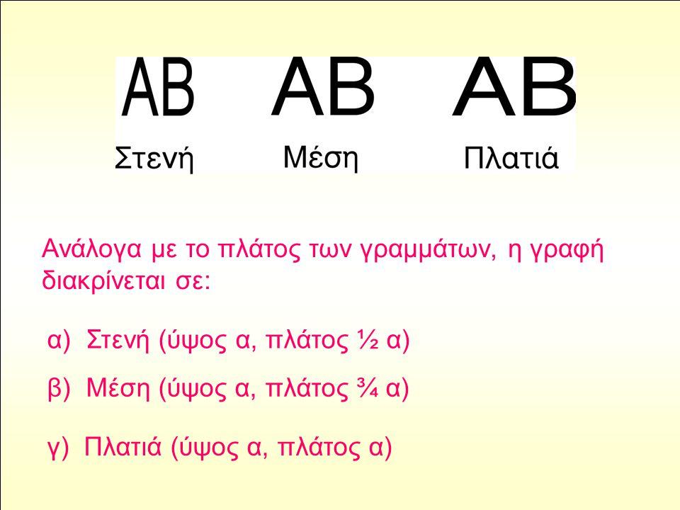 Ανάλογα με το πλάτος των γραμμάτων, η γραφή διακρίνεται σε: α) Στενή (ύψος α, πλάτος ½ α) β) Μέση (ύψος α, πλάτος ¾ α) γ) Πλατιά (ύψος α, πλάτος α)