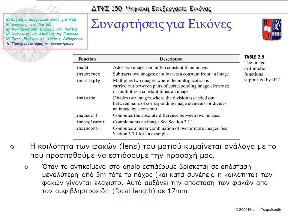 ΔΤΨΣ 150: Ψηφιακή Επεξεργασία Εικόνας © 2005 Nicolas Tsapatsoulis Συναρτήσεις για Εικόνες  Εργαλεία προγραμματισμού για ΨΕΕ  Εισαγωγή στη Matlab  Α