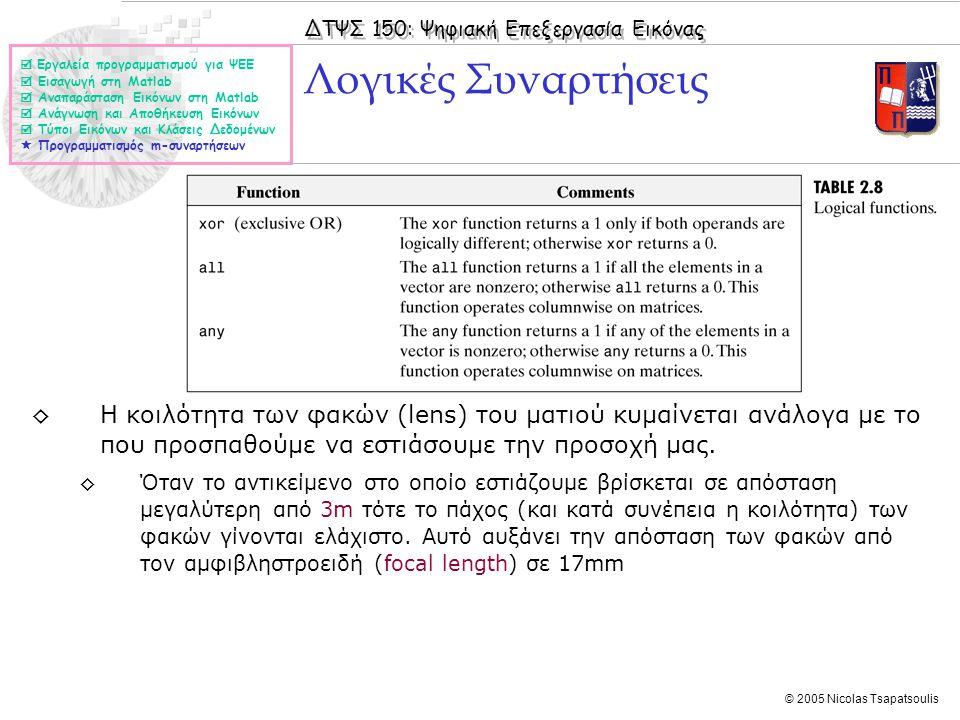 ΔΤΨΣ 150: Ψηφιακή Επεξεργασία Εικόνας © 2005 Nicolas Tsapatsoulis Λογικές Συναρτήσεις  Εργαλεία προγραμματισμού για ΨΕΕ  Εισαγωγή στη Matlab  Αναπα