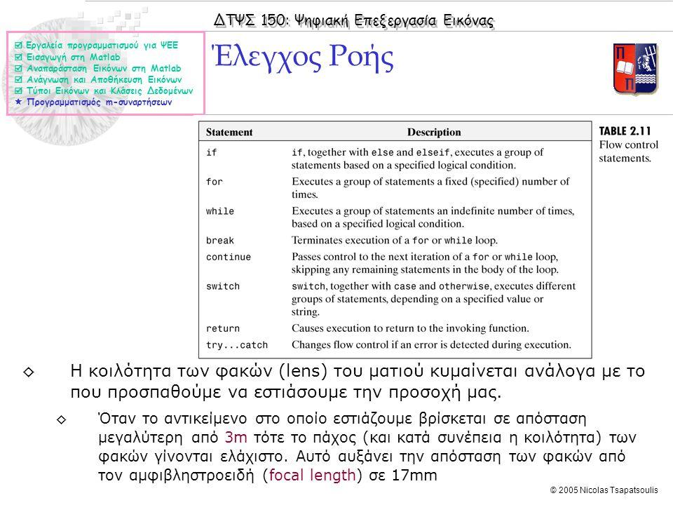 ΔΤΨΣ 150: Ψηφιακή Επεξεργασία Εικόνας © 2005 Nicolas Tsapatsoulis Έλεγχος Ροής  Εργαλεία προγραμματισμού για ΨΕΕ  Εισαγωγή στη Matlab  Αναπαράσταση