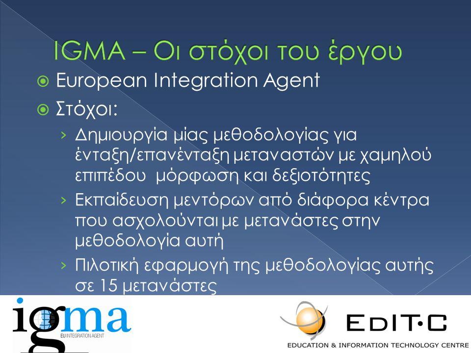  European Integration Agent  Στόχοι: › Δημιουργία μίας μεθοδολογίας για ένταξη/επανένταξη μεταναστών με χαμηλού επιπέδου μόρφωση και δεξιοτότητες › Εκπαίδευση μεντόρων από διάφορα κέντρα που ασχολούνται με μετανάστες στην μεθοδολογία αυτή › Πιλοτική εφαρμογή της μεθοδολογίας αυτής σε 15 μετανάστες