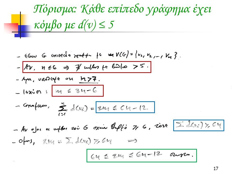 17 Πόρισμα: Κάθε επίπεδο γράφημα έχει κόμβο με d(v) ≤ 5