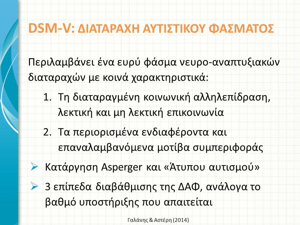 Γαλάνης & Αστέρη (2014) DSM-V: ΔΙΑΤΑΡΑΧΗ ΑΥΤΙΣΤΙΚΟΥ ΦΑΣΜΑΤΟΣ Περιλαμβάνει ένα ευρύ φάσμα νευρο-αναπτυξιακών διαταραχών με κοινά χαρακτηριστικά: 1.Τη δ