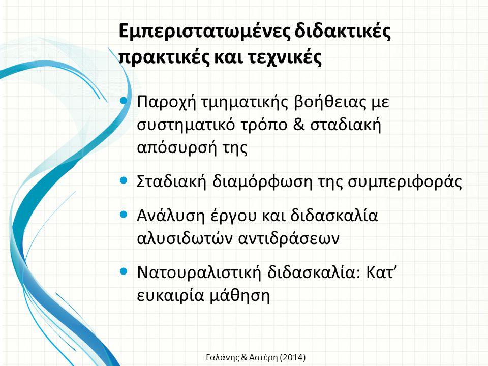 Γαλάνης & Αστέρη (2014) Εμπεριστατωμένες διδακτικές πρακτικές και τεχνικές Παροχή τμηματικής βοήθειας με συστηματικό τρόπο & σταδιακή απόσυρσή της Στα