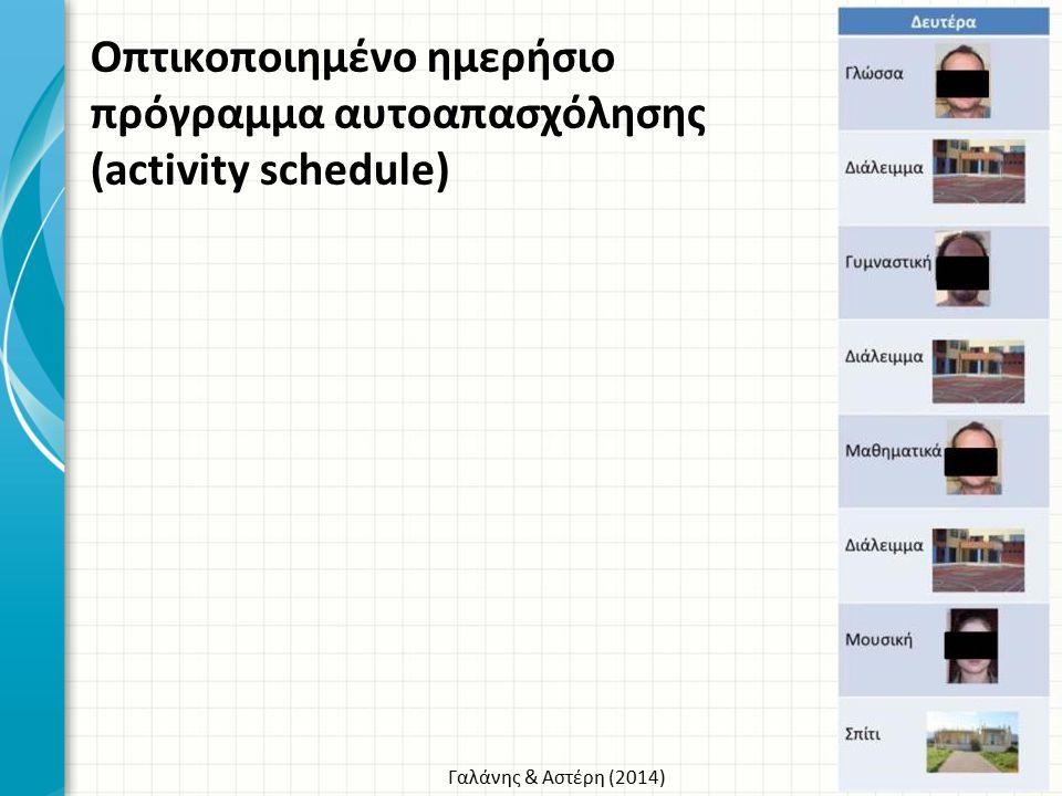 Γαλάνης & Αστέρη (2014) Οπτικοποιημένο ημερήσιο πρόγραμμα αυτοαπασχόλησης (activity schedule)