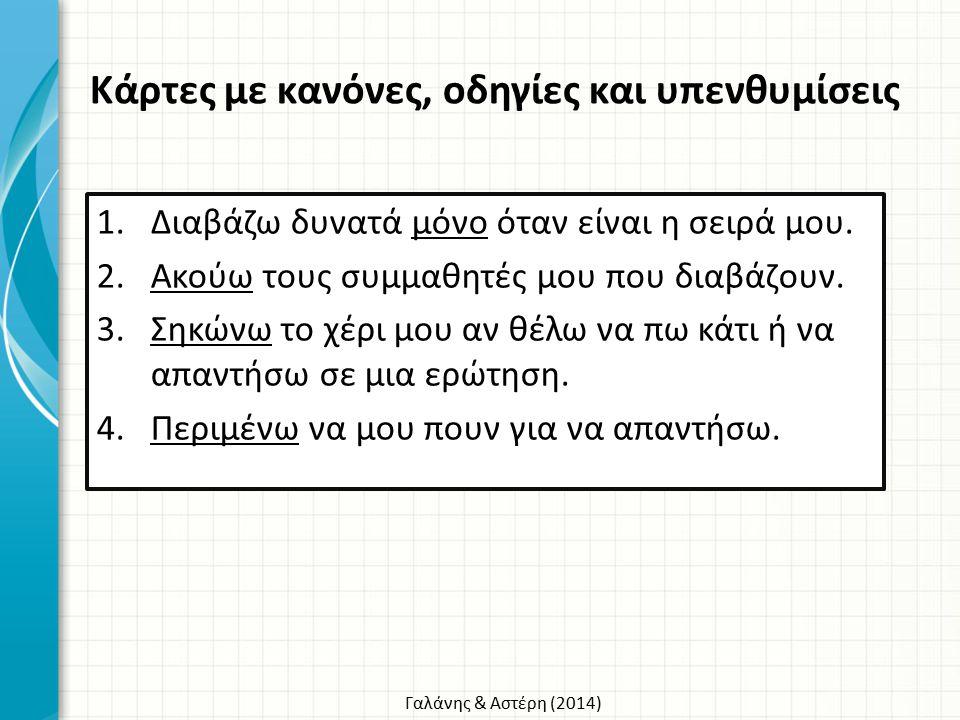 Γαλάνης & Αστέρη (2014) 1.Διαβάζω δυνατά μόνο όταν είναι η σειρά μου. 2.Ακούω τους συμμαθητές μου που διαβάζουν. 3.Σηκώνω το χέρι μου αν θέλω να πω κά