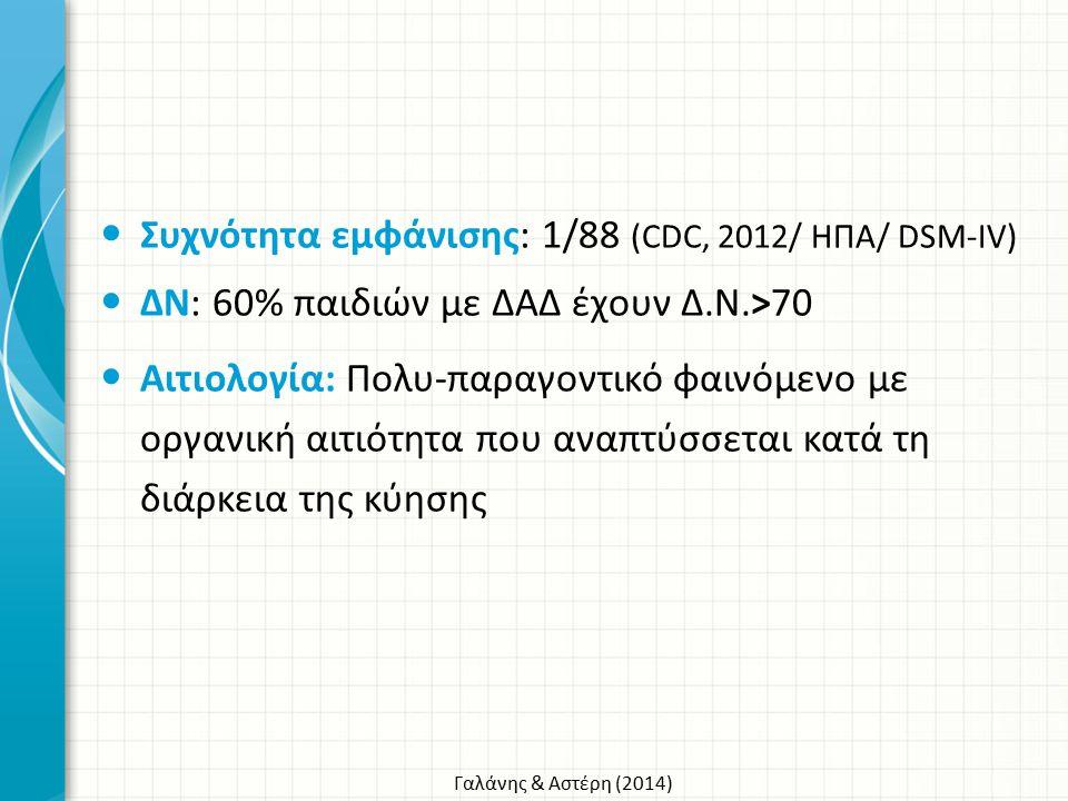 Γαλάνης & Αστέρη (2014) Συχνότητα εμφάνισης: 1/88 (CDC, 2012/ ΗΠΑ/ DSM-IV) ΔΝ: 60% παιδιών με ΔΑΔ έχουν Δ.Ν.>70 Αιτιολογία: Πολυ-παραγοντικό φαινόμενο