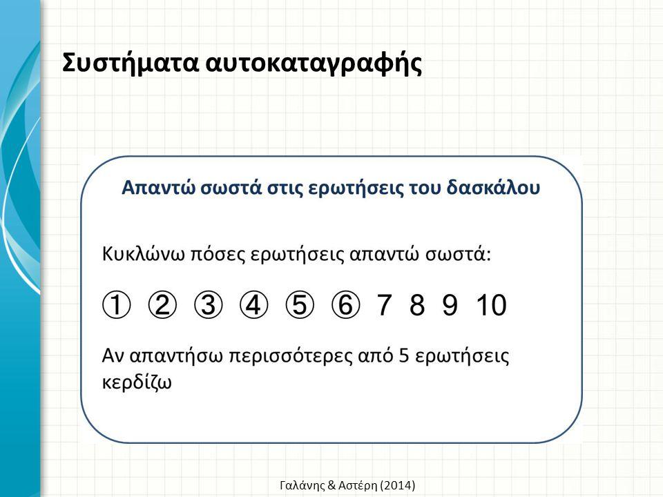 Γαλάνης & Αστέρη (2014) Συστήματα αυτοκαταγραφής