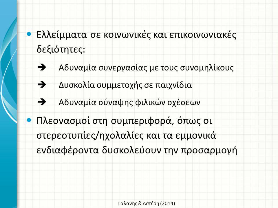 Γαλάνης & Αστέρη (2014) Ελλείμματα σε κοινωνικές και επικοινωνιακές δεξιότητες:  Αδυναμία συνεργασίας με τους συνομηλίκους  Δυσκολία συμμετοχής σε π