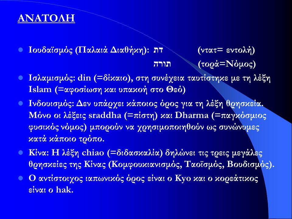 ΑΝΑΤΟΛΗ Ιουδαϊσμός (Παλαιά Διαθήκη): דת (ντατ= εντολή) תורה (τορά=Νόμος) Ισλαμισμός: din (=δίκαιο), στη συνέχεια ταυτίστηκε με τη λέξη Islam (=αφοσίωσ