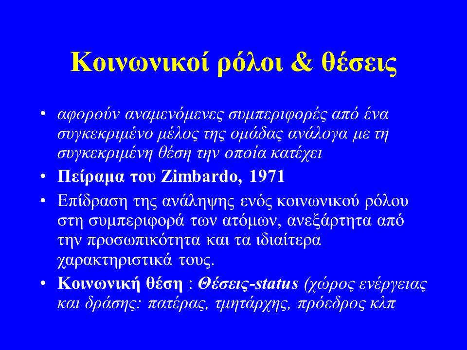 Κοινωνικοί ρόλοι & θέσεις αφορούν αναμενόμενες συμπεριφορές από ένα συγκεκριμένο μέλος της ομάδας ανάλογα με τη συγκεκριμένη θέση την οποία κατέχει Πείραμα του Zimbardo, 1971 Επίδραση της ανάληψης ενός κοινωνικού ρόλου στη συμπεριφορά των ατόμων, ανεξάρτητα από την προσωπικότητα και τα ιδιαίτερα χαρακτηριστικά τους.