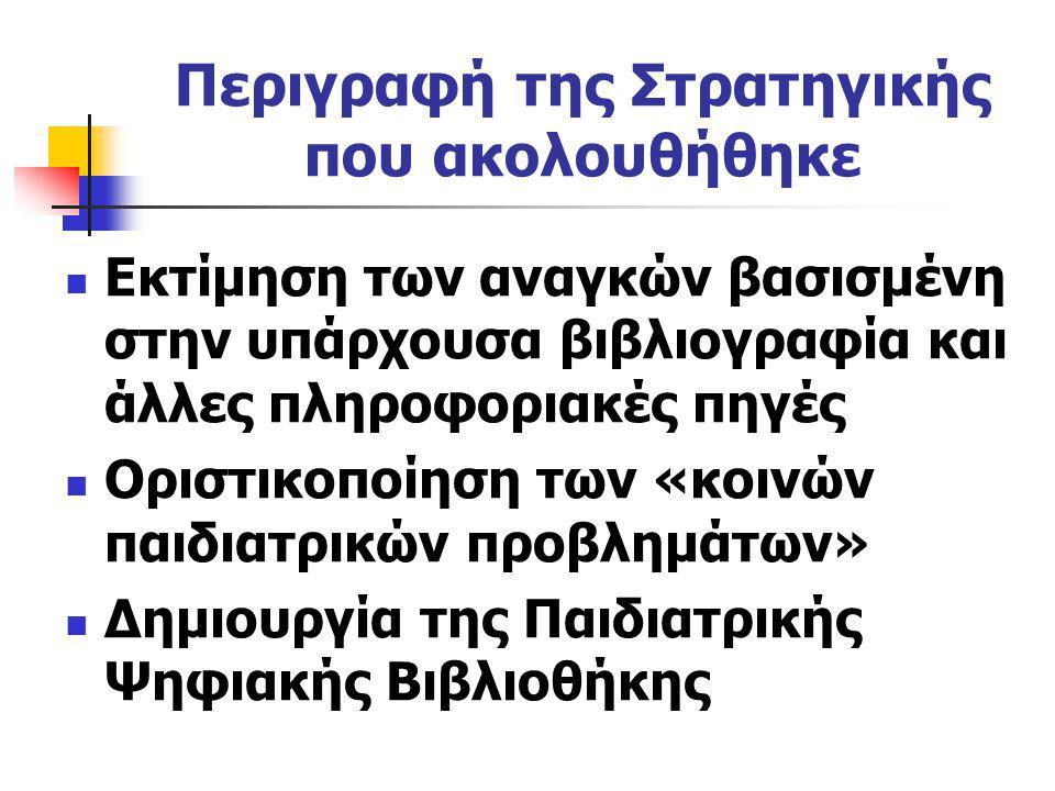 Περιγραφή της Στρατηγικής που ακολουθήθηκε Εκτίμηση των αναγκών βασισμένη στην υπάρχουσα βιβλιογραφία και άλλες πληροφοριακές πηγές Οριστικοποίηση των