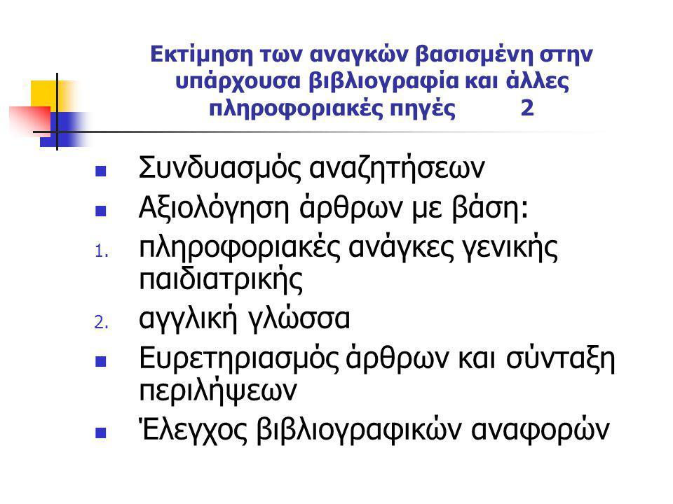 Εκτίμηση των αναγκών βασισμένη στην υπάρχουσα βιβλιογραφία και άλλες πληροφοριακές πηγές 2 Συνδυασμός αναζητήσεων Αξιολόγηση άρθρων με βάση: 1. πληροφ