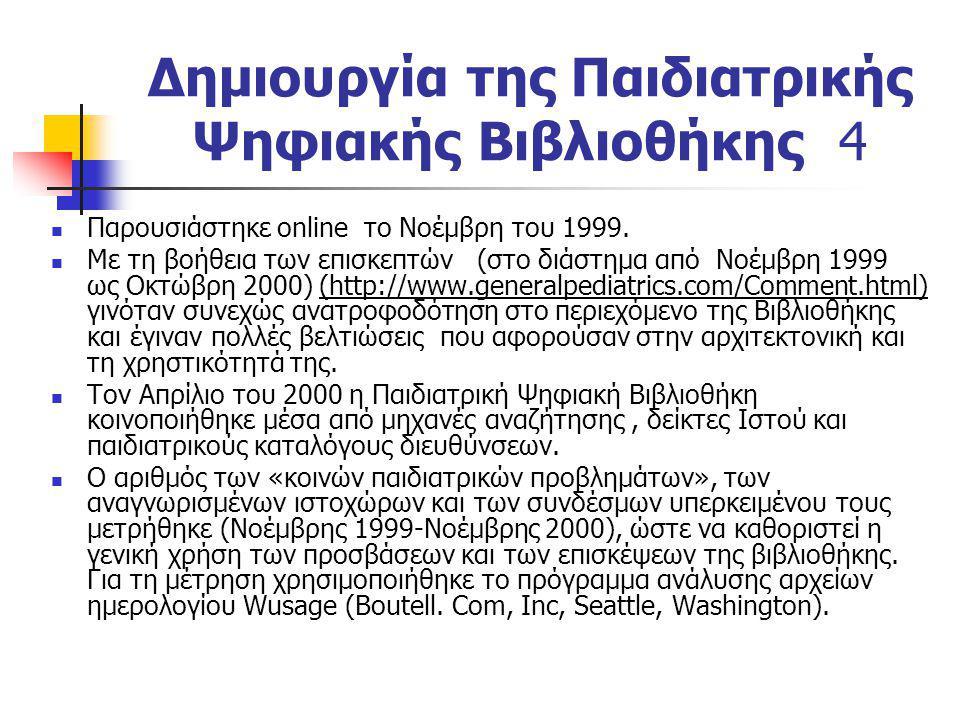 Δημιουργία της Παιδιατρικής Ψηφιακής Βιβλιοθήκης 4 Παρουσιάστηκε online το Νοέμβρη του 1999. Με τη βοήθεια των επισκεπτών (στο διάστημα από Νοέμβρη 19