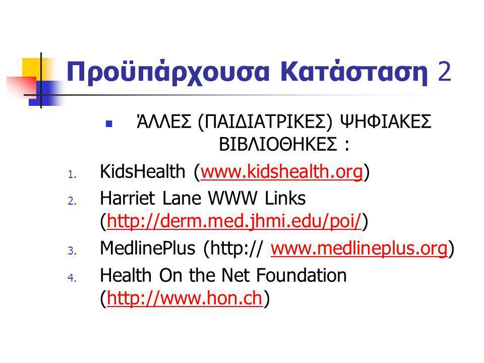 Προϋπάρχουσα Κατάσταση 2 ΆΛΛΕΣ (ΠΑΙΔΙΑΤΡΙΚΕΣ) ΨΗΦΙΑΚΕΣ ΒΙΒΛΙΟΘΗΚΕΣ : 1. KidsHealth (www.kidshealth.org)www.kidshealth.org 2. Harriet Lane WWW Links (h