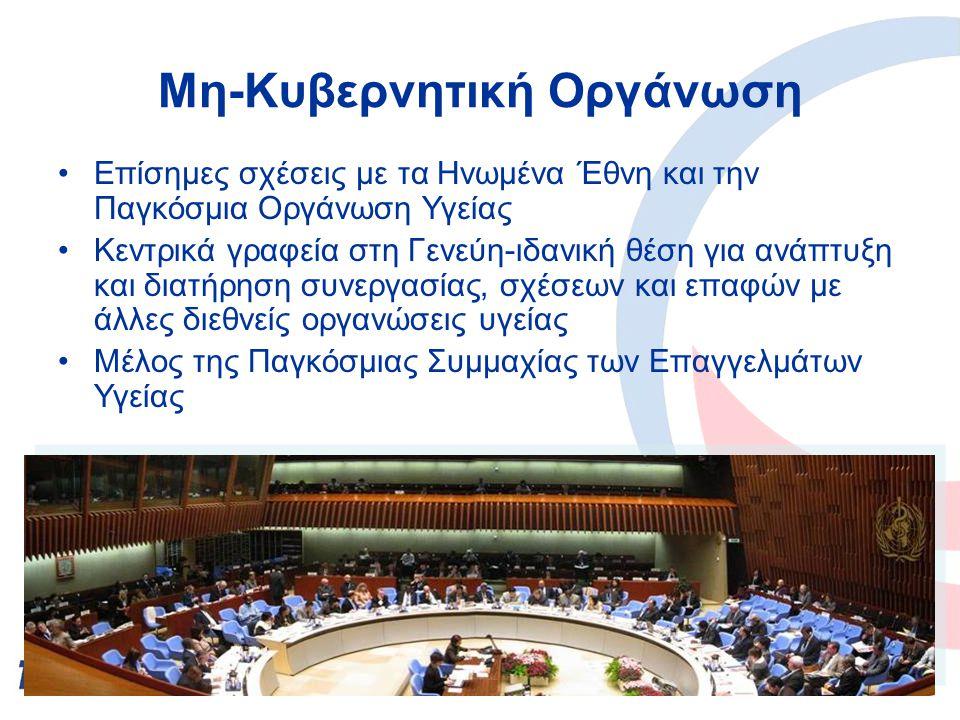 Μη-Κυβερνητική Οργάνωση Επίσημες σχέσεις με τα Ηνωμένα Έθνη και την Παγκόσμια Οργάνωση Υγείας Κεντρικά γραφεία στη Γενεύη-ιδανική θέση για ανάπτυξη και διατήρηση συνεργασίας, σχέσεων και επαφών με άλλες διεθνείς οργανώσεις υγείας Mέλος της Παγκόσμιας Συμμαχίας των Επαγγελμάτων Υγείας