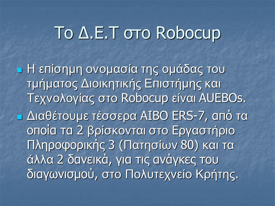 Το Δ.Ε.Τ στο Robocup H ε π ίσημη ονομασία της ομάδας του τμήματος Διοικητικής Ε π ιστήμης και Τεχνολογίας στο Robocup είναι AUEBOs.