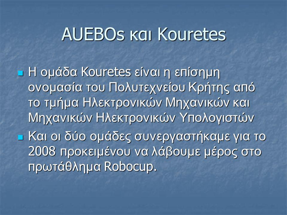 AUEBOs και Κοuretes H ομάδα Kouretes είναι η ε π ίσημη ονομασία του Πολυτεχνείου Κρήτης α π ό το τμήμα Ηλεκτρονικών Μηχανικών και Μηχανικών Ηλεκτρονικών Υ π ολογιστών H ομάδα Kouretes είναι η ε π ίσημη ονομασία του Πολυτεχνείου Κρήτης α π ό το τμήμα Ηλεκτρονικών Μηχανικών και Μηχανικών Ηλεκτρονικών Υ π ολογιστών Και οι δύο ομάδες συνεργαστήκαμε για το 2008 π ροκειμένου να λάβουμε μέρος στο π ρωτάθλημα Robocup.