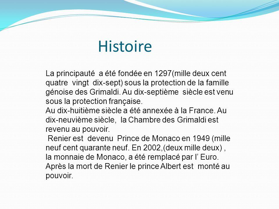 La principauté a été fondée en 1297(mille deux cent quatre vingt dix-sept) sous la protection de la famille génoise des Grimaldi.