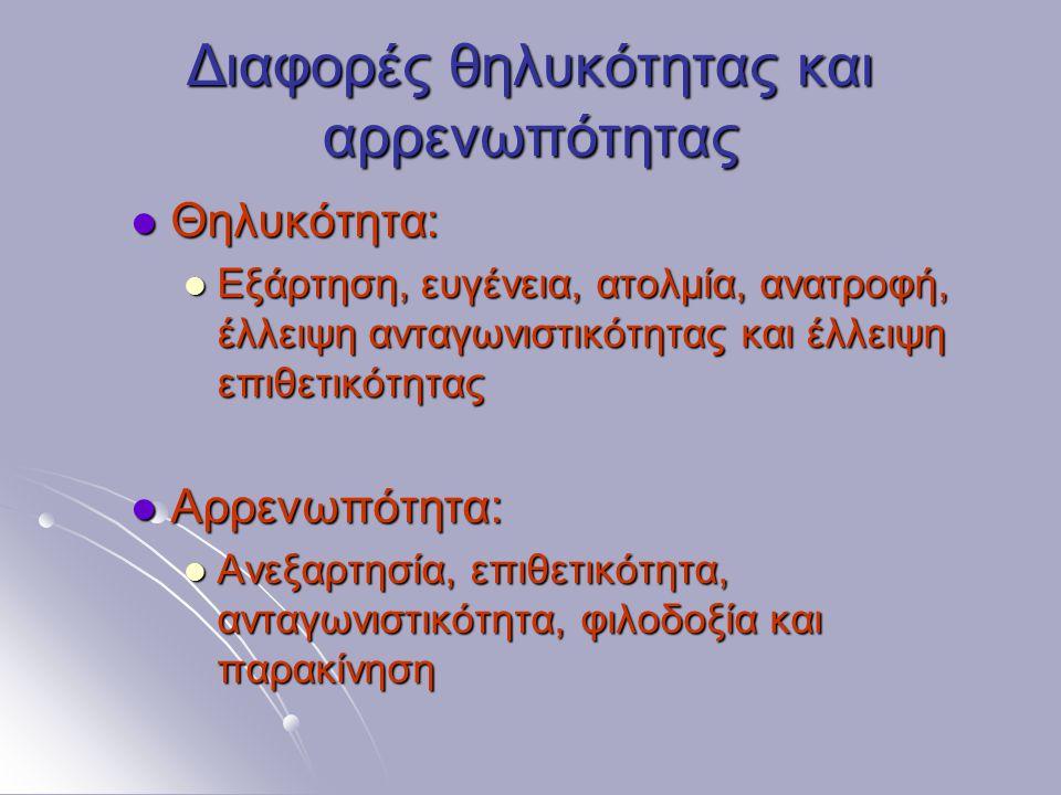 Διαφορές θηλυκότητας και αρρενωπότητας Θηλυκότητα: Θηλυκότητα: Εξάρτηση, ευγένεια, ατολμία, ανατροφή, έλλειψη ανταγωνιστικότητας και έλλειψη επιθετικότητας Εξάρτηση, ευγένεια, ατολμία, ανατροφή, έλλειψη ανταγωνιστικότητας και έλλειψη επιθετικότητας Αρρενωπότητα: Αρρενωπότητα: Ανεξαρτησία, επιθετικότητα, ανταγωνιστικότητα, φιλοδοξία και παρακίνηση Ανεξαρτησία, επιθετικότητα, ανταγωνιστικότητα, φιλοδοξία και παρακίνηση