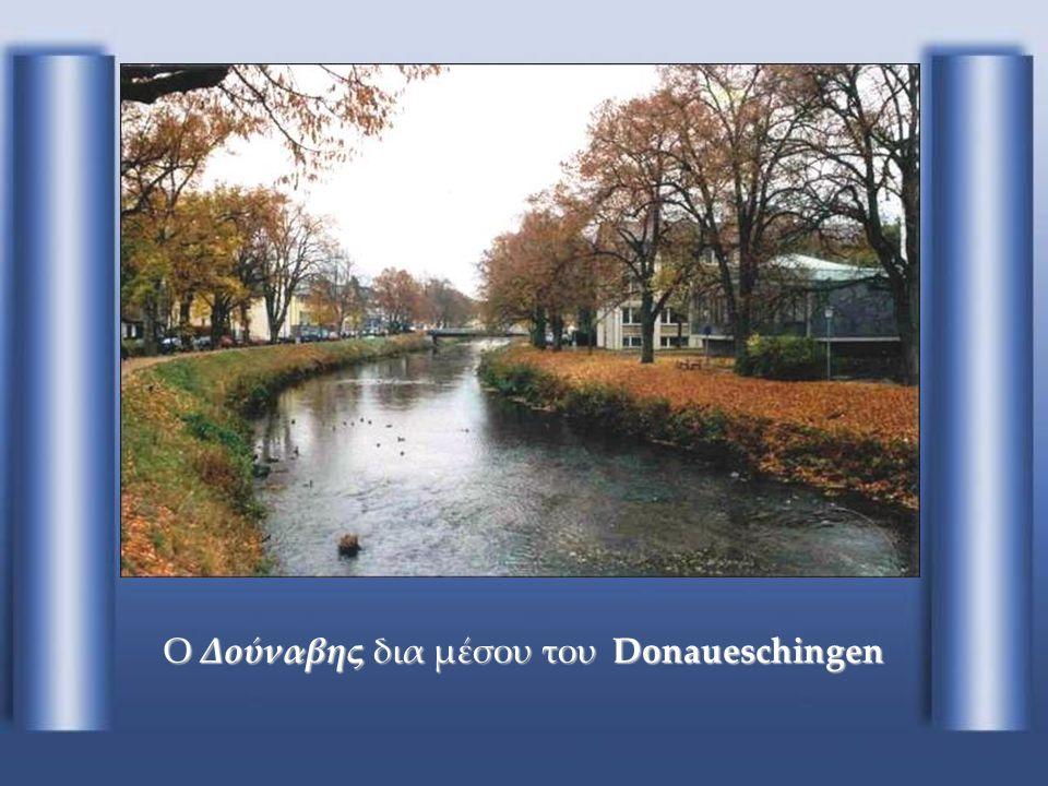 Donaueschingen Η διασταύρωση των Brigach (αριστερά) με Breg (δεξιά) γεννάει τον Δούναβη (κέντρο) Donaueschingen (Γερμανία)
