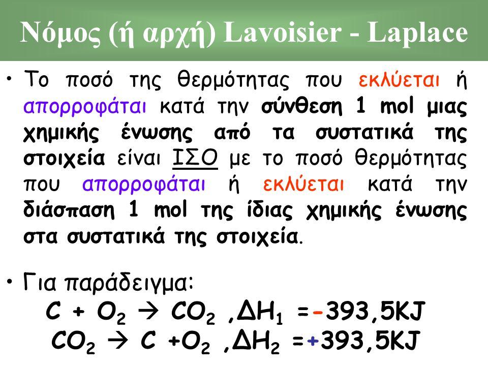 Νόμος (ή αρχή) Lavoisier - Laplace Το ποσό της θερμότητας που εκλύεται ή απορροφάται κατά την σύνθεση 1 mol μιας χημικής ένωσης από τα συστατικά της σ
