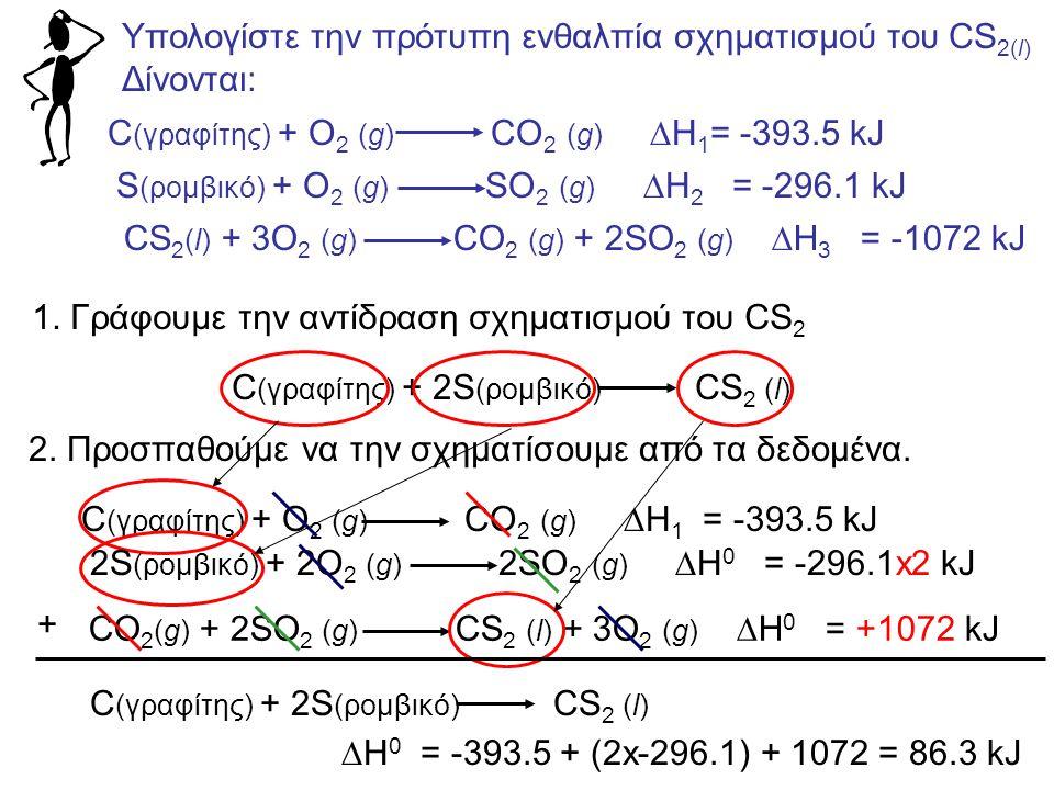 Υπολογίστε την πρότυπη ενθαλπία σχηματισμού του CS 2(l) Δίνονται: C (γραφίτης) + O 2 (g) CO 2 (g)  H 1 = -393.5 kJ S (ρομβικό) + O 2 (g) SO 2 (g)  H