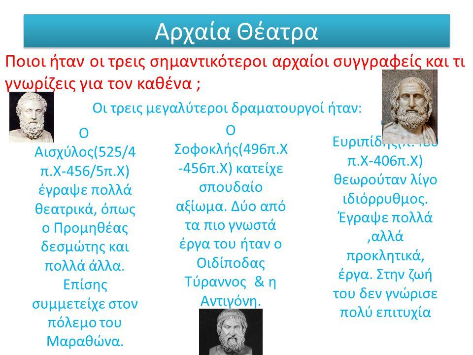 Ο Αισχύλος(525/4 π.Χ-456/5π.Χ) έγραψε πολλά θεατρικά, όπως ο Προμηθέας δεσμώτης και πολλά άλλα.