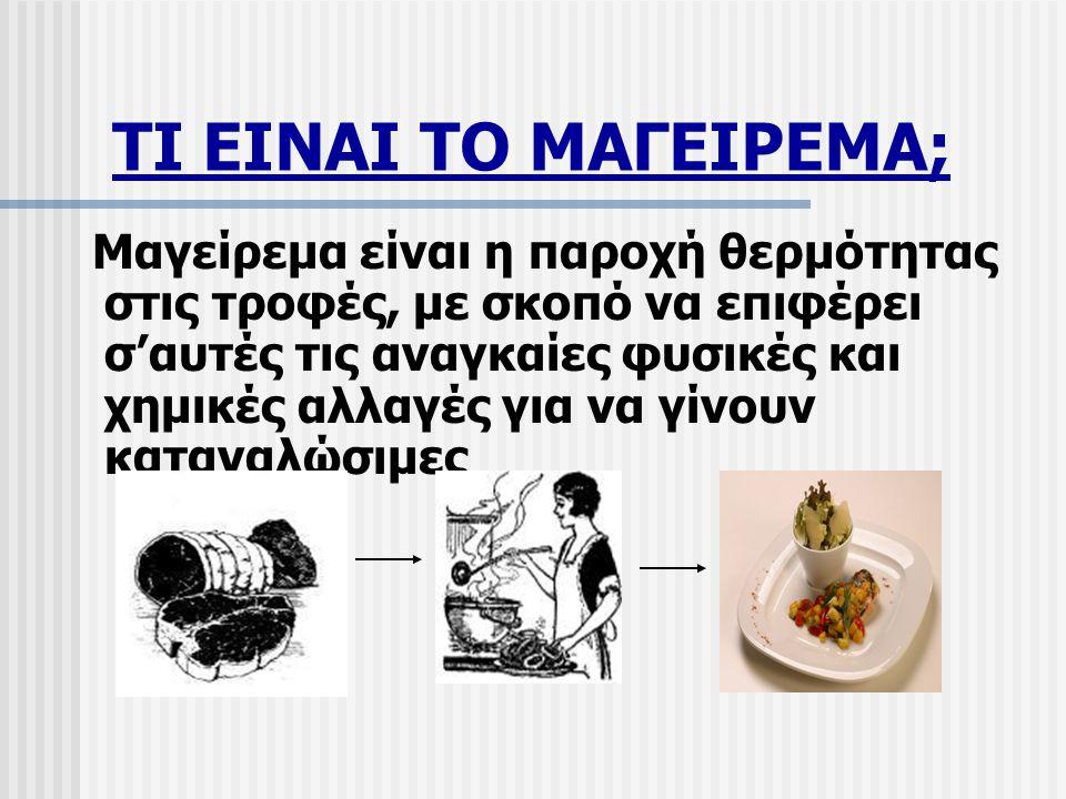 ΤΙ ΕΙΝΑΙ ΤΟ ΜΑΓΕΙΡΕΜΑ; Μαγείρεμα είναι η παροχή θερμότητας στις τροφές, με σκοπό να επιφέρει σ'αυτές τις αναγκαίες φυσικές και χημικές αλλαγές για να γίνουν καταναλώσιμες