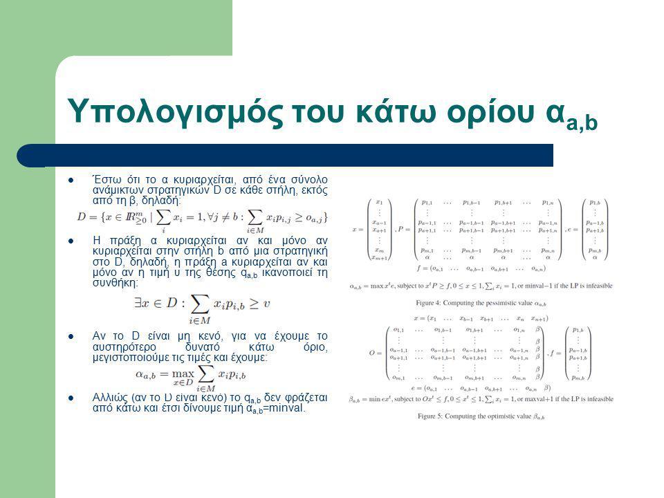 Υπολογισμός του κάτω ορίου α a,b Έστω ότι το α κυριαρχείται, από ένα σύνολο ανάμικτων στρατηγικών D σε κάθε στήλη, εκτός από τη β, δηλαδή: Η πράξη α κυριαρχείται αν και μόνο αν κυριαρχείται στην στήλη b από μια στρατηγική στο D, δηλαδή, η πράξη a κυριαρχείται αν και μόνο αν η τιμή υ της θέσης q a,b ικανοποιεί τη συνθήκη: Αν το D είναι μη κενό, για να έχουμε το αυστηρότερο δυνατό κάτω όριο, μεγιστοποιούμε τις τιμές και έχουμε: Αλλιώς (αν το D είναι κενό) το q a,b δεν φράζεται από κάτω και έτσι δίνουμε τιμή α a,b =minval.