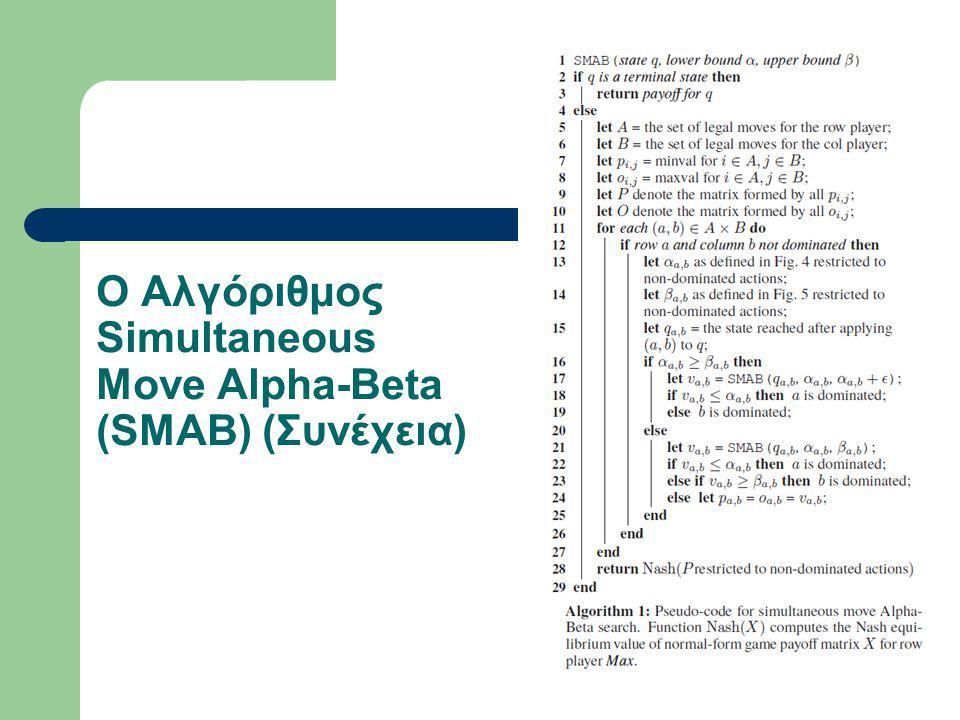 Ο Αλγόριθμος Simultaneous Move Alpha-Beta (SMAB) (Συνέχεια)