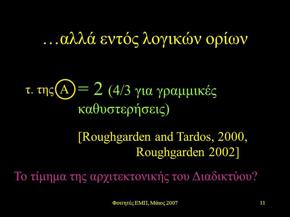 Φοιτητές ΕΜΠ, Μάιος 200711 …αλλά εντός λογικών ορίων = 2 (4/3 για γραμμικές καθυστερήσεις) [Roughgarden and Tardos, 2000, Roughgarden 2002] Το τίμημα της αρχιτεκτονικής του Διαδικτύου.