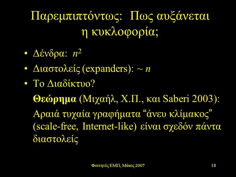 Φοιτητές ΕΜΠ, Μάιος 200718 Παρεμπιπτόντως: Πως αυξάνεται η κυκλοφορία; Δένδρα: n 2 Διαστολείς (expanders): ~ n Το Διαδίκτυο? Θεώρημα (Μιχαήλ, Χ.Π., κα