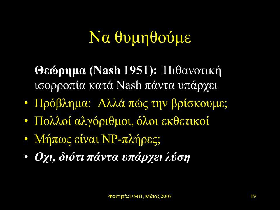 Φοιτητές ΕΜΠ, Μάιος 200719 Να θυμηθούμε Θεώρημα (Nash 1951): Πιθανοτική ισορροπία κατά Nash πάντα υπάρχει Πρόβλημα: Αλλά πώς την βρίσκουμε; Πολλοί αλγόριθμοι, όλοι εκθετικοί Μήπως είναι ΝΡ-πλήρες; Οχι, διότι πάντα υπάρχει λύση