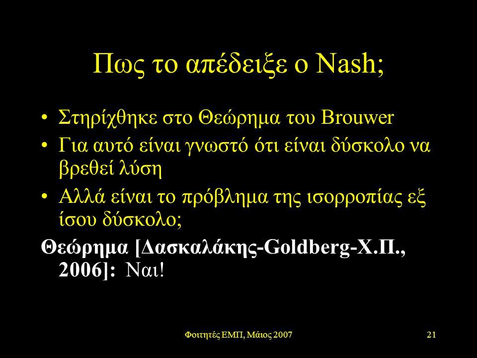 Φοιτητές ΕΜΠ, Μάιος 200721 Πως το απέδειξε ο Nash; Στηρίχθηκε στο Θεώρημα του Brouwer Για αυτό είναι γνωστό ότι είναι δύσκολο να βρεθεί λύση Αλλά είναι το πρόβλημα της ισορροπίας εξ ίσου δύσκολο; Θεώρημα [Δασκαλάκης-Goldberg-Χ.Π., 2006]: Ναι!