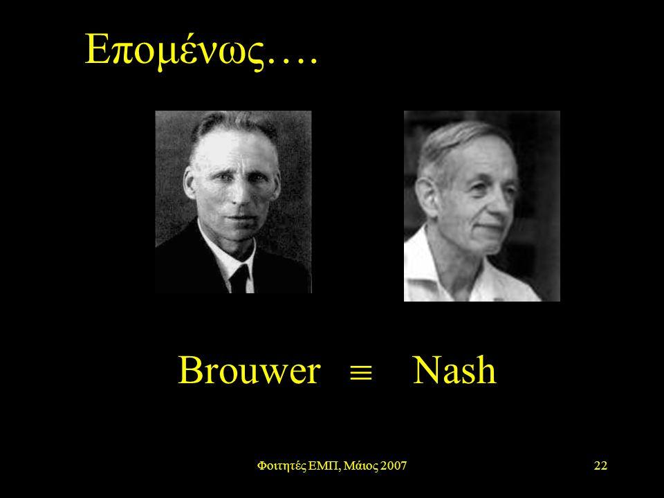 Φοιτητές ΕΜΠ, Μάιος 200722 Brouwer  Nash Επομένως….