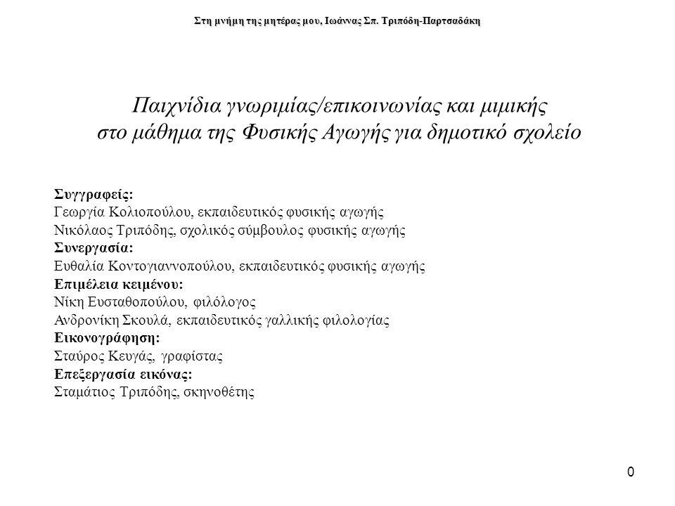 Παιχνίδια γνωριμίας/επικοινωνίας και μιμικής στο μάθημα της Φυσικής Αγωγής για δημοτικό σχολείο Συγγραφείς: Γεωργία Κολιοπούλου, εκπαιδευτικός φυσικής αγωγής Νικόλαος Τριπόδης, σχολικός σύμβουλος φυσικής αγωγής Συνεργασία: Ευθαλία Κοντογιαννοπούλου, εκπαιδευτικός φυσικής αγωγής Επιμέλεια κειμένου: Νίκη Ευσταθοπούλου, φιλόλογος Ανδρονίκη Σκουλά, εκπαιδευτικός γαλλικής φιλολογίας Εικονογράφηση: Σταύρος Κευγάς, γραφίστας Επεξεργασία εικόνας: Σταμάτιος Τριπόδης, σκηνοθέτης Στη μνήμη της μητέρας μου, Ιωάννας Σπ.