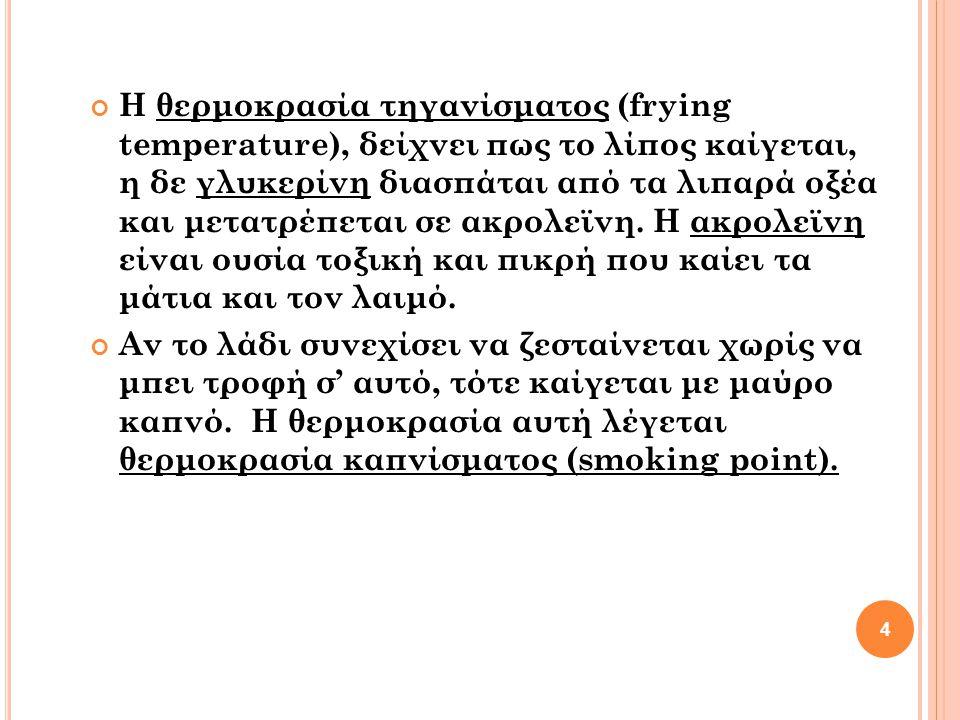 Η θερμοκρασία τηγανίσματος (frying temperature), δείχνει πως το λίπος καίγεται, η δε γλυκερίνη διασπάται από τα λιπαρά οξέα και μετατρέπεται σε ακρολε