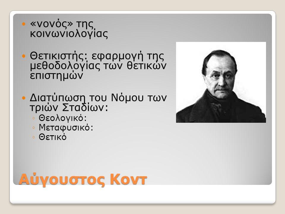 Αύγουστος Κοντ «νονός» της κοινωνιολογίας Θετικιστής: εφαρμογή της μεθοδολογίας των θετικών επιστημών Διατύπωση του Νόμου των τριών Σταδίων: ◦Θεολογικ