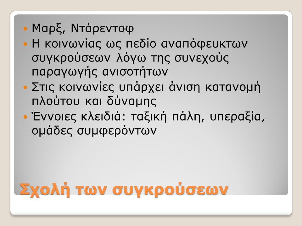 Σχολή των συγκρούσεων Μαρξ, Ντάρεντοφ Η κοινωνίας ως πεδίο αναπόφευκτων συγκρούσεων λόγω της συνεχούς παραγωγής ανισοτήτων Στις κοινωνίες υπάρχει άνισ