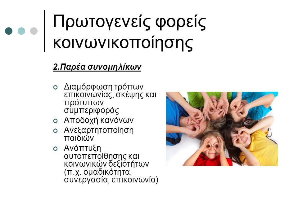 Πρωτογενείς φορείς κοινωνικοποίησης 2.Παρέα συνομηλίκων Διαμόρφωση τρόπων επικοινωνίας, σκέψης και πρότυπων συμπεριφοράς Αποδοχή κανόνων Ανεξαρτητοποίηση παιδιών Ανάπτυξη αυτοπεποίθησης και κοινωνικών δεξιοτήτων (π.χ.