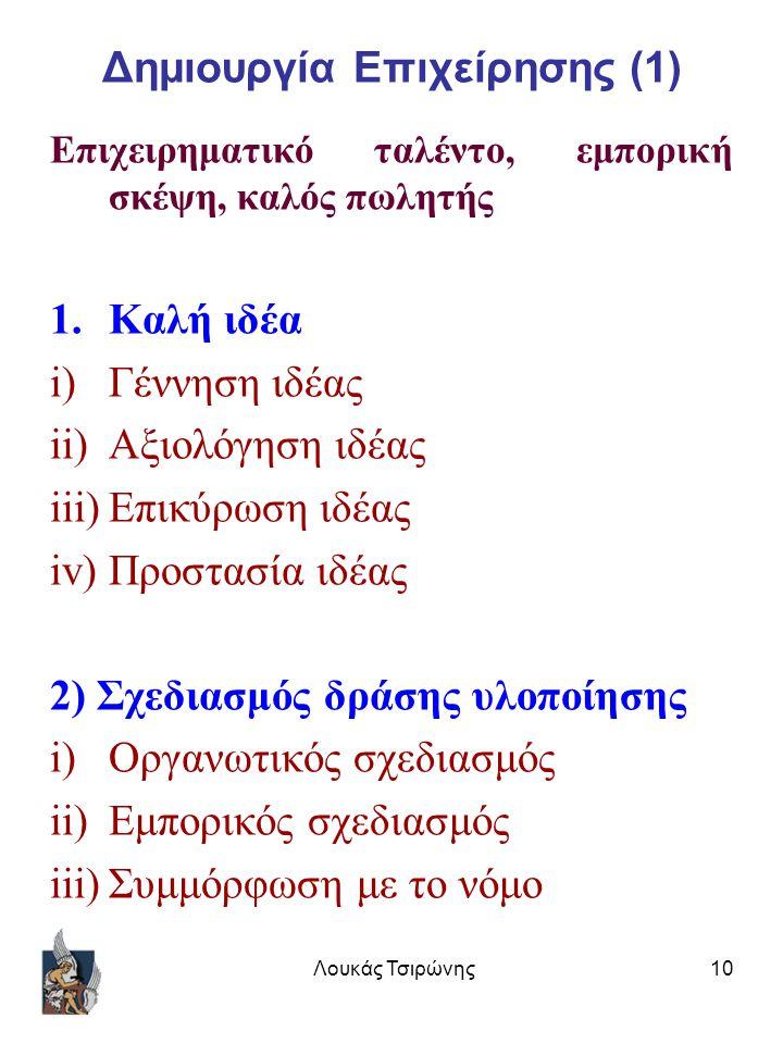 Λουκάς Τσιρώνης10 Δημιουργία Επιχείρησης (1) Επιχειρηματικό ταλέντο, εμπορική σκέψη, καλός πωλητής 1.Καλή ιδέα i)Γέννηση ιδέας ii)Αξιολόγηση ιδέας iii)Επικύρωση ιδέας iv)Προστασία ιδέας 2) Σχεδιασμός δράσης υλοποίησης i)Οργανωτικός σχεδιασμός ii)Εμπορικός σχεδιασμός iii)Συμμόρφωση με το νόμο