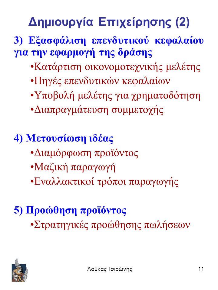 Λουκάς Τσιρώνης11 Δημιουργία Επιχείρησης (2) 3) Εξασφάλιση επενδυτικού κεφαλαίου για την εφαρμογή της δράσης Κατάρτιση οικονομοτεχνικής μελέτης Πηγές επενδυτικών κεφαλαίων Υποβολή μελέτης για χρηματοδότηση Διαπραγμάτευση συμμετοχής 4) Μετουσίωση ιδέας Διαμόρφωση προϊόντος Μαζική παραγωγή Εναλλακτικοί τρόποι παραγωγής 5) Προώθηση προϊόντος Στρατηγικές προώθησης πωλήσεων