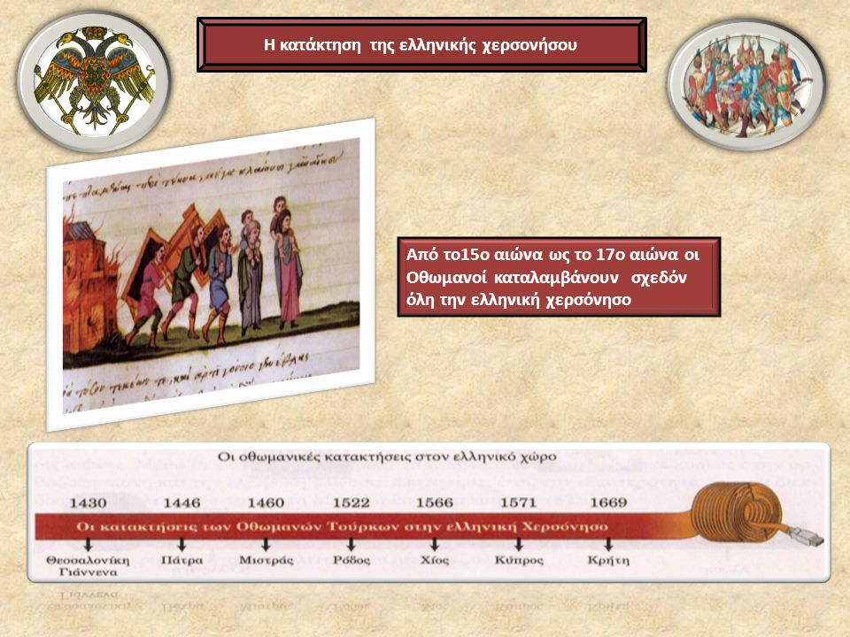 Η κατάκτηση της ελληνικής χερσονήσου Από το15ο αιώνα ως το 17ο αιώνα οι Οθωμανοί καταλαμβάνουν σχεδόν όλη την ελληνική χερσόνησο