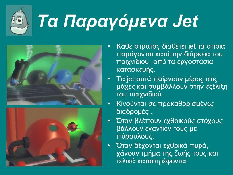 Τα Παραγόμενα Jet Κάθε στρατός διαθέτει jet τα οποία παράγονται κατά την διάρκεια του παιχνιδιού από τα εργοστάσια κατασκευής.